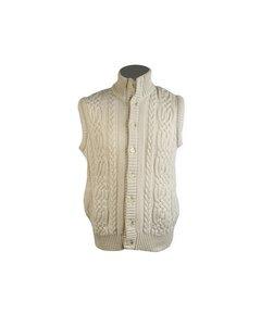 Vintage Ivory Aran Knit Cashmere Sleeveless Cardigan Vest Size M