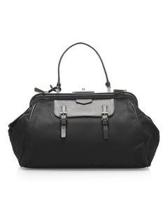 Prada Tessuto Frame Handbag Black