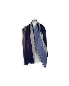 De Carlis Roma Vintage Blue Striped Cashmere Large Scarf