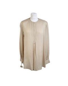 Gibierre Donna Vintage Beige Silk Shirt Long Sleeve Blouse Size 44