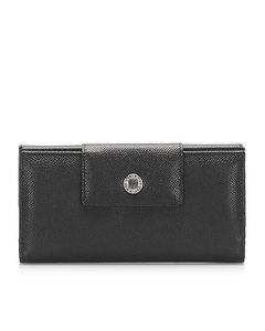 Bvlgari Leather Long Wallet Black