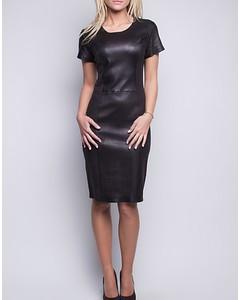 Stretch Lamb Leather Dress - Black