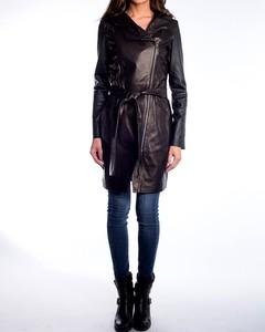 Lamb Leather Three Quarter Length Coat With Hood And Belt - Black