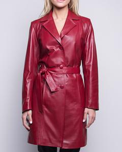 Lamb Leather Three Quarter Length Coat - Red