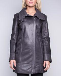 Lamb Leather Three Quarter Length Coat - Grey