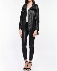 Lamb Leather Three Quarter Length Coat - Black