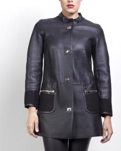 Lamb Leather Coat - Black