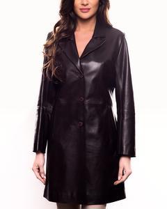 Lamb Leather Three Quarter Length Coat - Brown