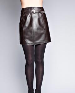 Lamb Leather Skirt - Brown