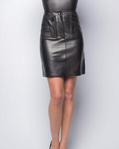 Lamb Leather Skirt - Black