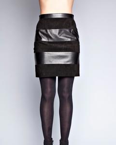 Bi-material Skirt - Black
