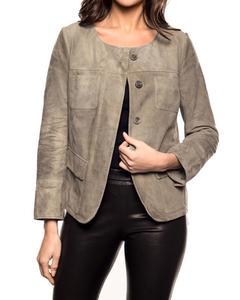 Goat Suede Leather Jacket - Khaki
