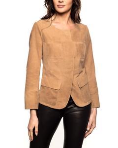 Goat Suede Leather Jacket - Beige