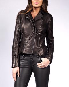 Lamb Leather Perfecto With Double Zipper - Black