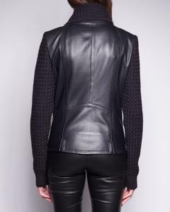 Lamb Leather Jacket With Wool Collar And Sleeves - Dark Navy