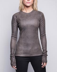 Stretch Lamb Leather T-shirt  - Khaki