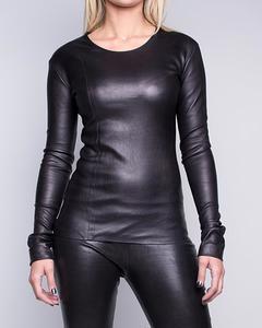 Stretch Lamb Leather T-shirt  - Black