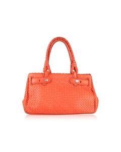 Bottega Veneta Coral Intrecciato Woven Leather Bag Scalloped Trim