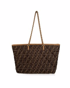 Fendi Brown Canvas Tote Bag Mod: Zucca Quilted Roll Tote