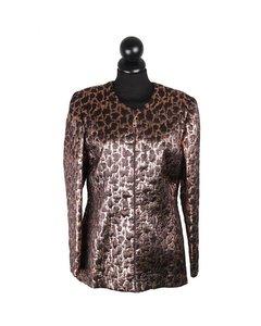 Gai Mattiolo Vintage Bronze Metallic Collarles Jacket Size 46