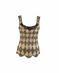 Blumarine Couture Beige Embellished Tank Top Size Xs