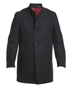 Modern Wool Collar Coat Dark Blue