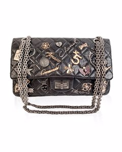 Chanel Black Leather Shoulder Bag Mod: Lucky Charms 2.55 Reissue Flap