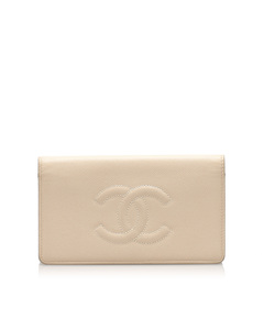 Chanel Cc Caviar Leather Bifold Wallet Brown