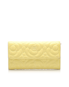 Chanel Camellia Lambskin Leather Flap Wallet Yellow