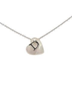 Dior Heart Shell Pendant Necklace Silver