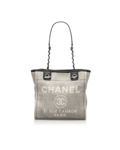Chanel Deauville Canvas Tote Bag Gray