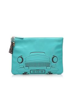 Chanel Habana O-case Leather Clutch Bag Blue
