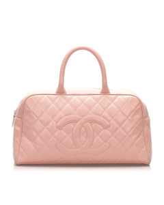 Chanel Matelasse Caviar Leather Boston Bag Pink