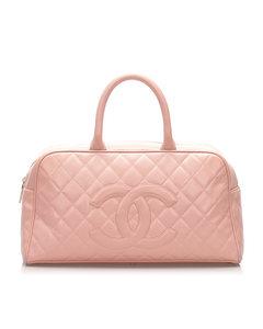 Chanel Matelasse Caviar Leather Boston Bag Pink
