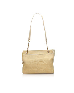 Chanel Cc Straw Tote Bag Brown