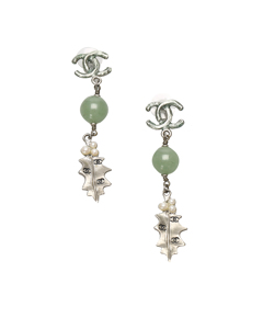 Chanel Cc Leaf Drop Earrings Silver