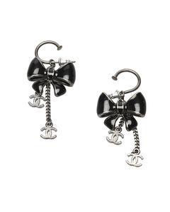 Chanel Cc Ribbon Drop Earrings Silver
