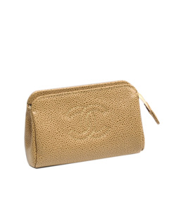 Chanel Cc Caviar Leather Pouch Brown