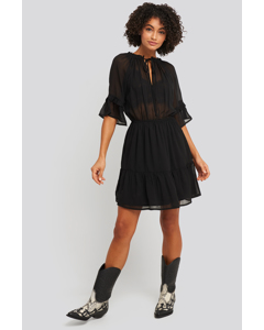 Short Sleeve Flounce Mini Dress Black