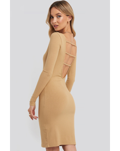 Open Back Ribbed Mini Dress Beige