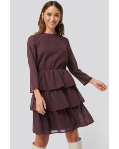 Chiffon Flounce Mini Dress Burgundy