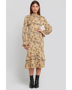 Ballon Sleeve Gathered Midi Dress Safari Print