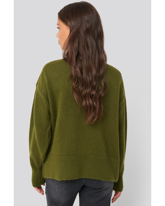 NA-KD Turtlneck Oversized Knitted Sweater Olive Green