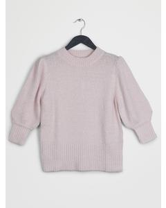 Short Puff Sleeve Knitted Sweater Light Pink