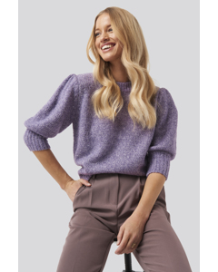 Short Puff Sleeve Knitted Sweater Purple