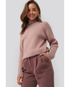 High Neck Ribbed Sleeve Sweater Dusty Pink