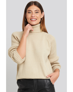 High Neck Ribbed Sleeve Sweater Beige