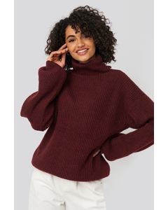 Knitted Turtle Neck Sweater Burgundy