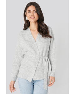 Overlap Tied Waist Cardigan Grey