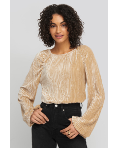Crinkle Velvet Balloon Sleeve Top Champagne